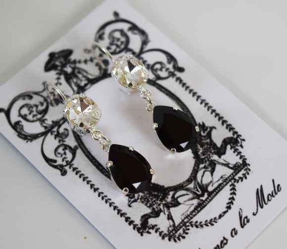 Jet Black and Clear 2-Stone Dangle Earrings
