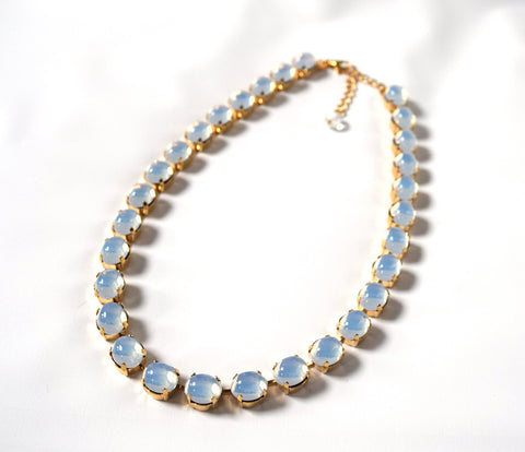Swarovksi Moonstone Mirror Back Necklace - Small Oval