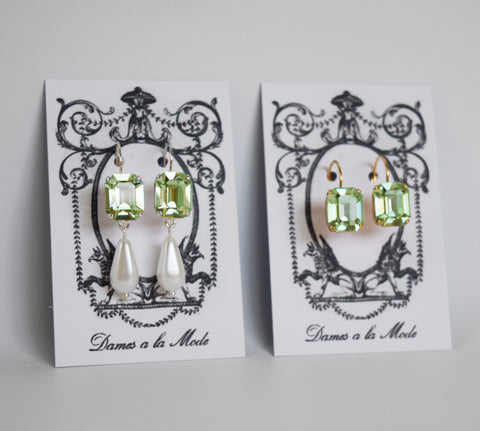 Mint Green Swarovski Crystal and Pearl Earrings - Small Octagon