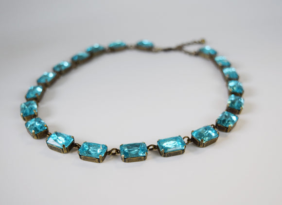 Light Blue Aquamarine Collet Necklace - Medium Octagon