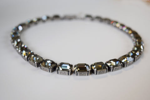 Grey Swarovski Crystal Collet Necklace - Small Octagon