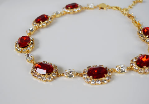Large Swarovski Ruby Red Halo Necklace