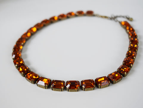 Madeira Topaz Swarovski Crystal Collet Necklace - Small Octagon