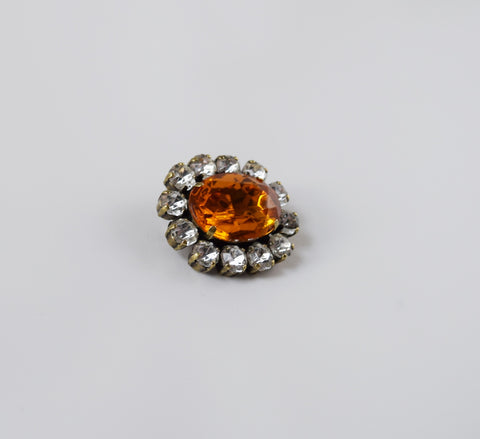 Orange Topaz Crystal Cluster Brooch