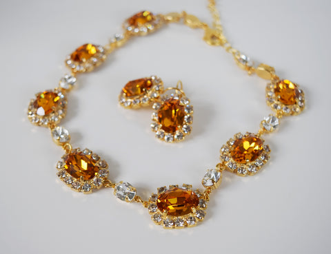 Large Swarovski Orange Topaz Halo Necklace