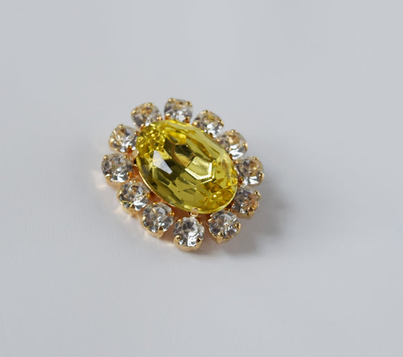 Citrine Yellow Crystal Cluster Brooch