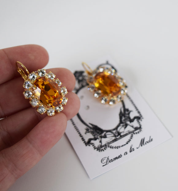 Orange Topaz Swarovski and Crystal Cluster Earrings - Large Oval