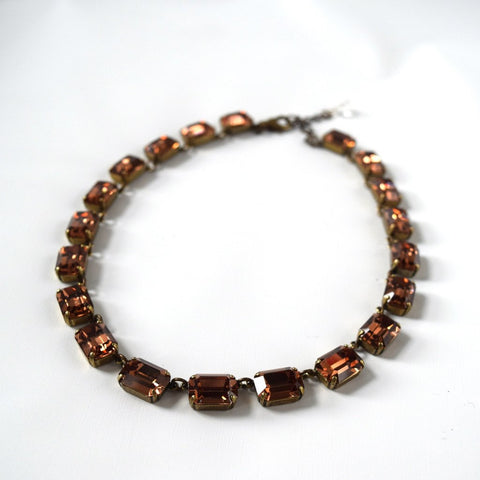 Dark Colorado Topaz Swarovski Collet Necklace - Medium Octagon