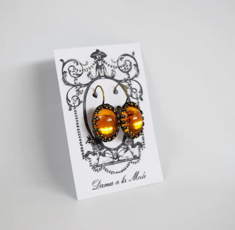 Orange Crown Crystal Mirror Earrings - Large Oval