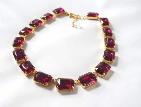 Fuchsia Pink Crystal Collet Necklace | Large Octagon Riviere