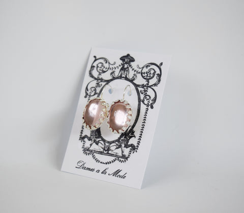 Pale Pink Crown Crystal Mirror Earrings - Large Oval