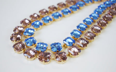 Light Blue and Purple Crystal Collet Necklaces - Medium Square