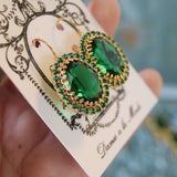 Emerald Green Swarovski Crystal Halo Earrings