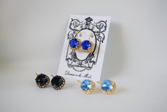 Blue Crystal Halo Earrings - Small Round