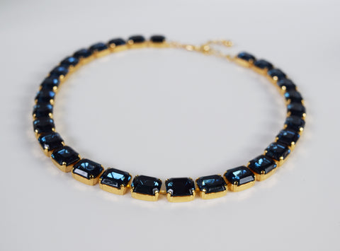 Navy Blue Swarovski Crystal Collet Necklace - Small Octagon