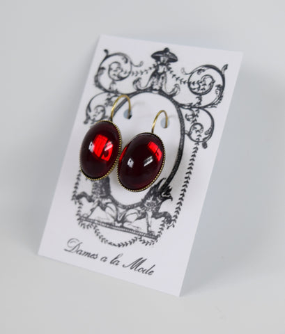 Mirror Back Garnet Red Crystal Earrings