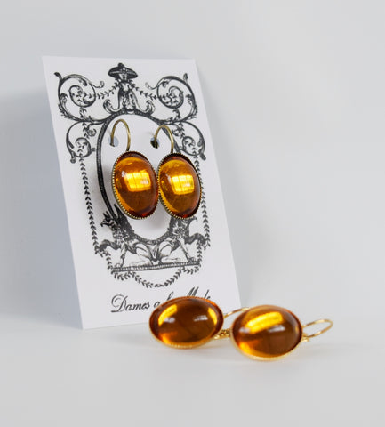 Mirror Back Orange Topaz Crystal Earrings