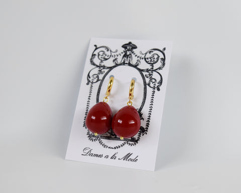 Red Shell Pearl Coral Drop Earrings - Large