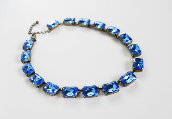 Light Blue Riviere Necklace - Large Octagon