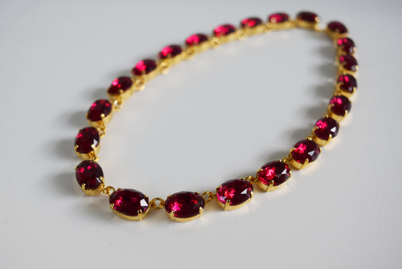 Dark Pink Crystal Collet Necklace - Medium Oval
