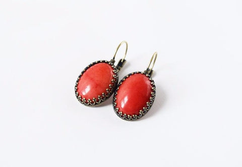 Faux Coral Crown Earrings