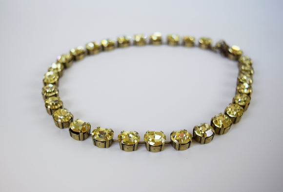 Citrine Yellow Swarovski Crystal Collet Necklace - Small Oval