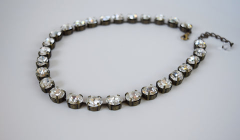 Clear Crystal Swarovski Collet Necklace - Small Oval