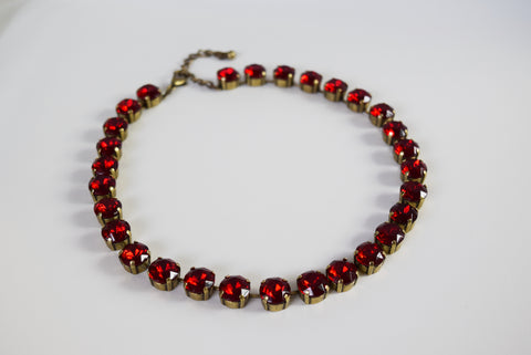 Ruby Red Crystal Collet Necklace - Small Round