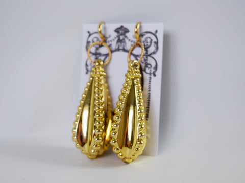 Huge 1830s Golden Drop Earrings