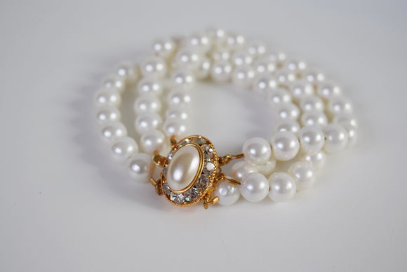 Bracelet - Triple Strand Shell Pearl with Vintage Clasp