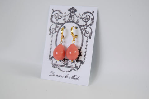 Pink Shell Pearl Coral Drop Earrings