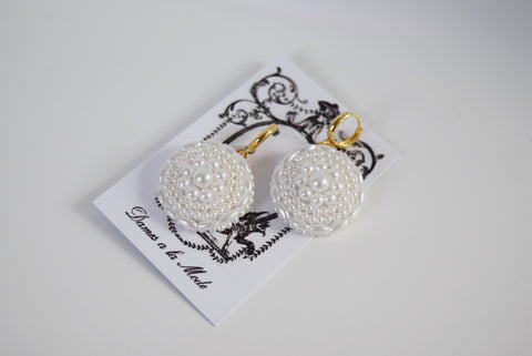 Large Pearl Cluster Earrings