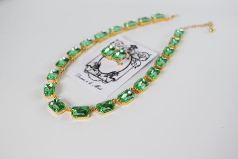 Peridot Green Collet Necklace - Medium Octagon