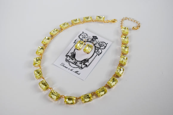 Light Yellow Collet Necklace - Medium Octagon