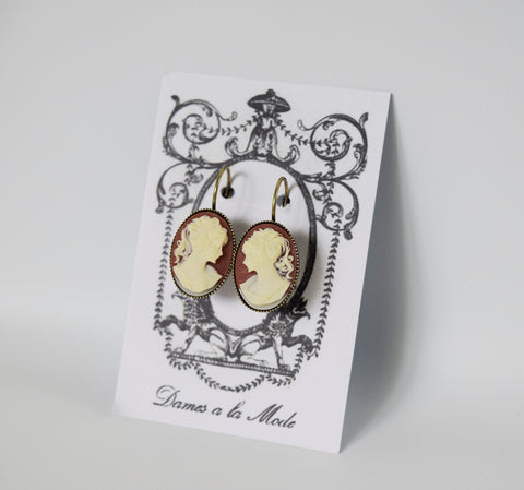 Cameo Earrings - Carnelian and White Acryllic