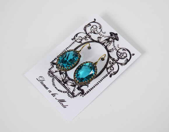 Blue Zircon Swarovski Crystal Crown Earrings