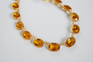 Citrine Swarovski Crystal Collet Necklace - Large Oval