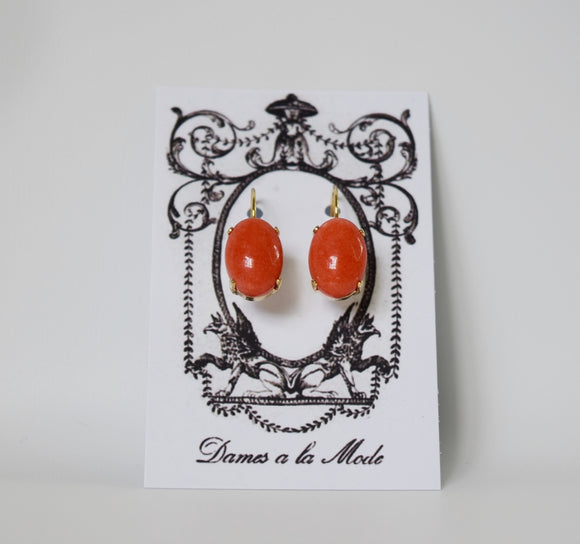 Coral Stone Earrings - Medium Oval