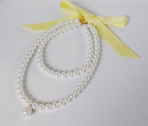 Shell Pearl Necklace - Double Strand with Teardrop