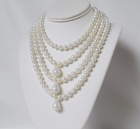 Shell Pearl Necklace - Quadruple Strand with Teardrops