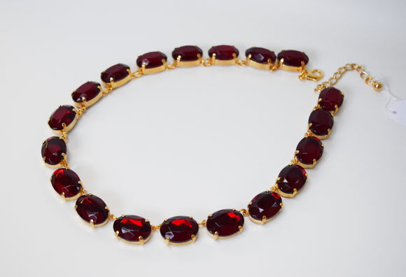 Garnet Crystal Collet Necklace - Large Oval