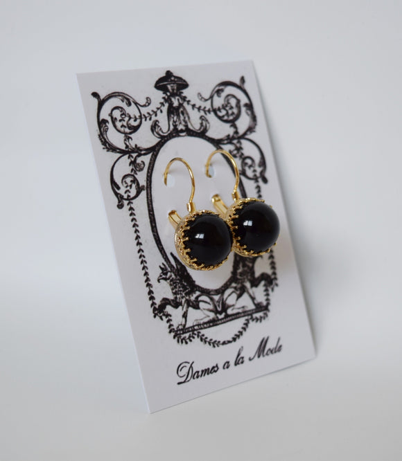 Onyx Crown Earrings - Medium Round