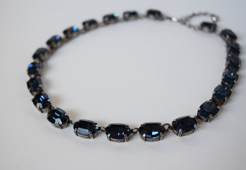 Navy Blue Swarovski Crystal Necklace - Medium Oval