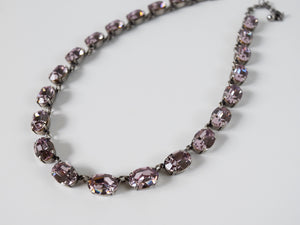 Light Amethyst Purple Swarovski Crystal Necklace - Medium Oval