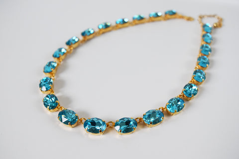 Aquamarine Blue Swarovski Crystal Necklace - Medium Oval