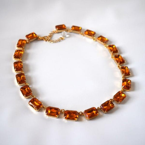Orange Topaz Collet Necklace - Medium Octagon