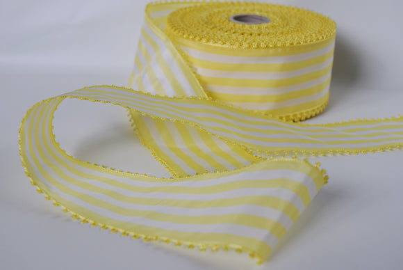 Vintage Yellow and White Striped Picot Ribbon