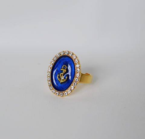 "Faux ""Enamel"" ring with crystal halo - anchor"