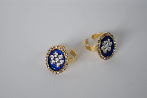 "Faux ""Enamel"" ring with crystal halo - crystal flower"