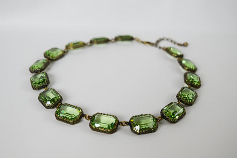Crown Set Peridot Green Swarovski Necklace - Large Octagon